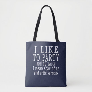 Tote Bag J'aime Party le pasteur ou le prédicateur drôle