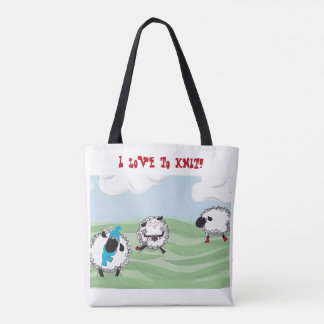 "Tote Bag ""J'aime tricoter !"" moutons gambadants tricotant"