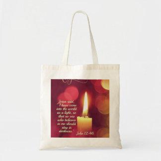 Tote Bag Je suis venu comme lumière, vers de bible de 12h46
