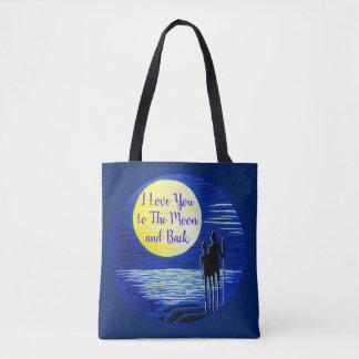 Tote Bag Je t'aime à la lune et à la lune arrière regardant