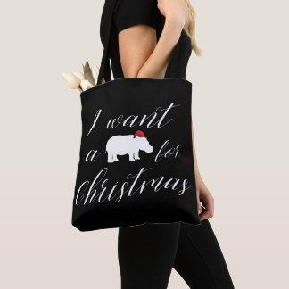 Tote Bag Je veux un hippopotame pour Noël beau