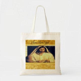 Tote Bag Jésus cassant l'or de pain et la texture noire