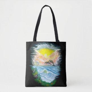 Tote Bag Jeu des dauphins au soleil