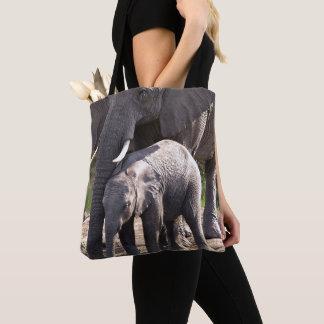 Tote Bag Jeune éléphant africain avec le bébé