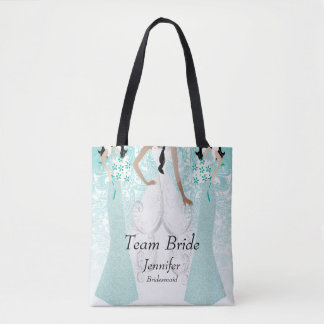 Tote Bag Jeune mariée d'équipe dans Teal