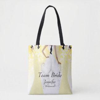 Tote Bag Jeune mariée d'équipe en jaune