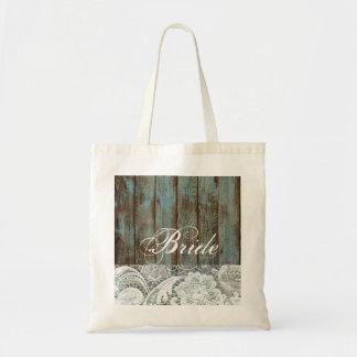 Tote Bag jeune mariée en bois de pays de dentelle de grange