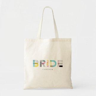 Tote Bag Jeune mariée moderne de typographie colorée de