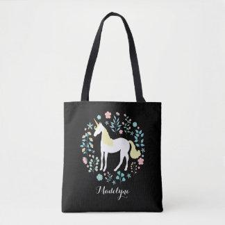 Tote Bag Joli noir de licorne et de fleurs personnalisé