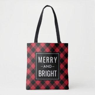 Tote Bag Joyeuses et lumineuses vacances | rouges de plaid