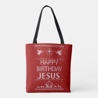 Tote Bag Joyeux anniversaire Jésus de chandail laid rouge