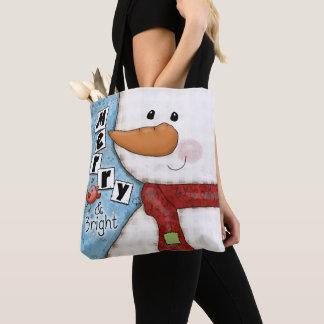 Tote Bag Joyeux et lumineux bonhomme de neige de Noël et