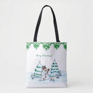 Tote Bag Joyeux Noël ! Bonhomme de neige avec le chat et le