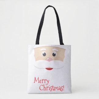 Tote Bag Joyeux Noël Père Noël avec des flocons de neige
