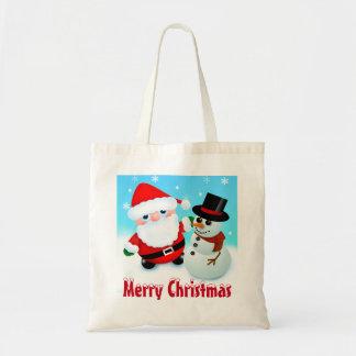 Tote Bag Joyeux Noël, Père Noël et bonhomme de neige