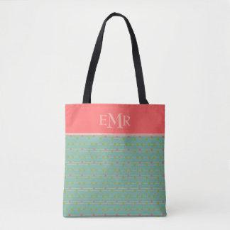 Tote Bag Juste points heureux sur le monogramme de ficelles