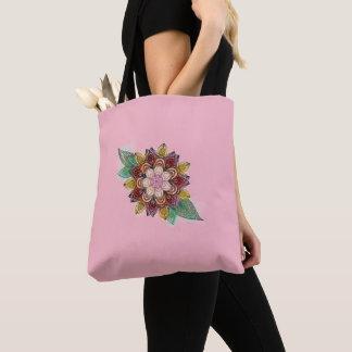 Tote Bag Kaléidoscope floral sur assez rose
