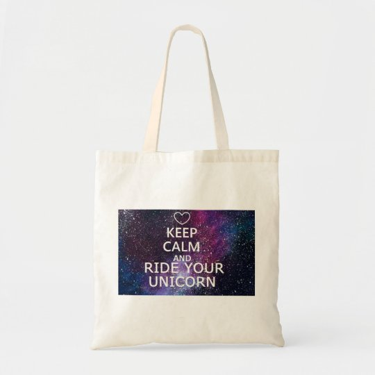 """TOTE BAG """"KEEP CALM AND RIDE YOUR UNICORN"""" GALAXY"""