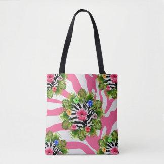 Tote Bag Ketmie tropicale et rayures roses exotiques de