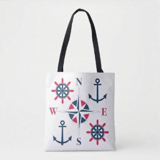Tote Bag La barre du bateau ancre le blanc rouge de marine