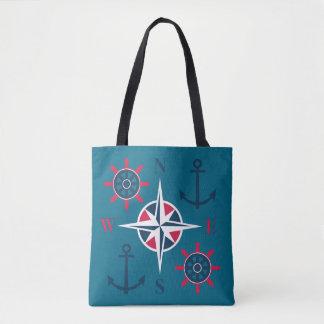 Tote Bag La barre du bateau ancre le rouge Teal de marine