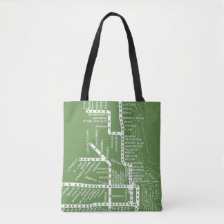 Tote Bag La carte de souterrain de Chicago avec le train
