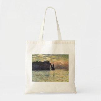 Tote Bag La falaise Etretat, coucher du soleil par Claude