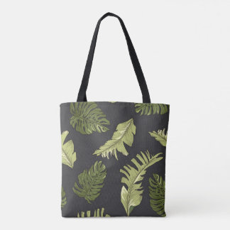 Tote Bag La jungle illustrée part du motif foncé