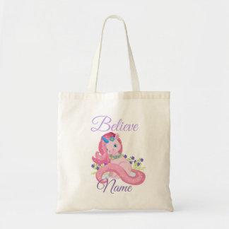 Tote Bag La licorne rose mignonne croient personnalisé