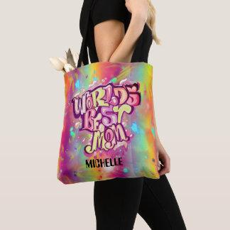 Tote Bag La meilleure maman du monde avec le nom fait sur