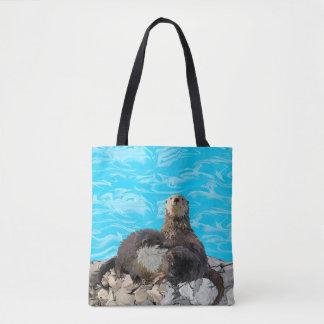 Tote Bag Là où la rivière rencontre les loutres de mer