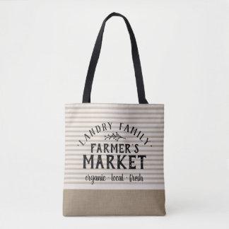 Tote Bag La toile beige barre le marché Fourre-tout de