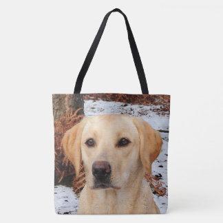 Tote Bag Labrador jaune - hiver