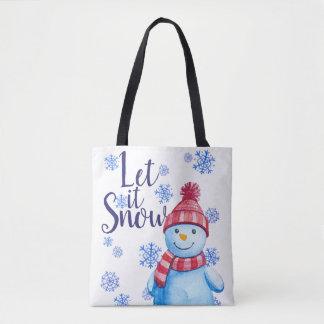 Tote Bag Laissez lui neiger bonhomme de neige avec des