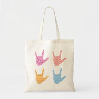 Tote Bag Langue des signes d'ASL je t'aime dans les motifs
