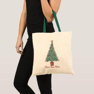 Tote Bag L'arbre de Noël avec le rouge de décorations