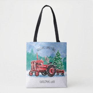 Tote Bag L'arbre de Noël vintage rouge de tracteur ajoutent