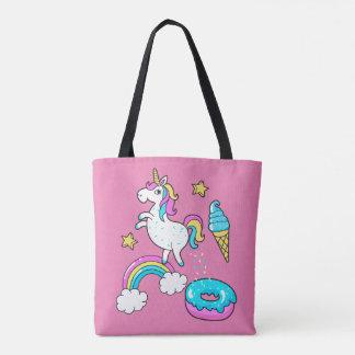 Tote Bag L'arc-en-ciel pooping de licorne drôle arrose sur