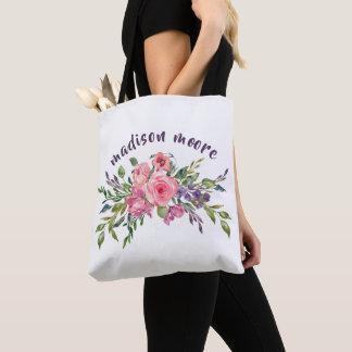 Tote Bag Lavande personnalisée par nom et bouquet floral
