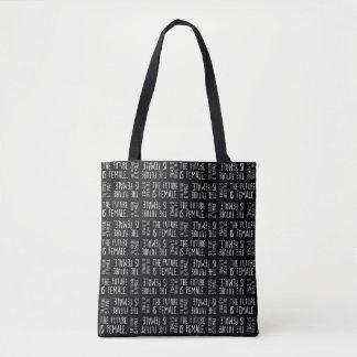 Tote Bag L'avenir est blanc femelle de | sur le motif noir