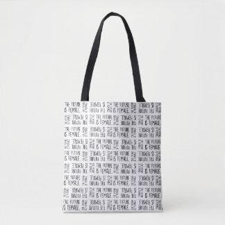 Tote Bag L'avenir est noir femelle de | sur le motif blanc