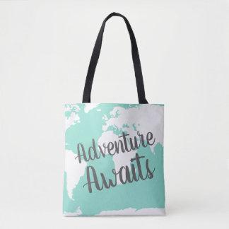 Tote Bag L'aventure attend la carte et la menthe blanches