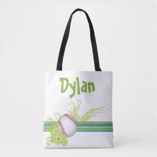 Tote Bag Le base-ball folâtre le nom personnalisé de jeu de
