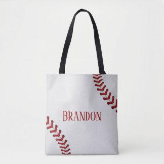Tote Bag Le base-ball lace le nom blanc rouge de jeu de