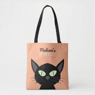 Tote Bag Le chat noir mignon badine Halloween