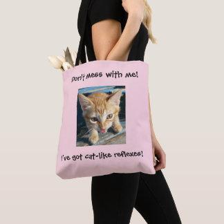 """Tote Bag Le chat orange rose """"ne salissent pas avec moi !"""""""