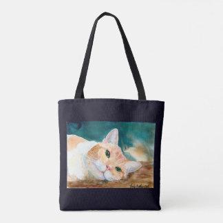 Tote Bag Le chat tigré blanc orange peut nous jouent