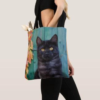 Tote Bag Le chaton mignon de chat noir avec le rouge part