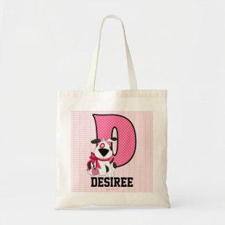 Tote Bag Le chien badine rose décoré d'un monogramme de la