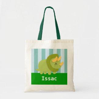 Tote Bag Le dinosaure vert mignon de Triceratops badine le